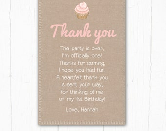Thank you card, Birthday Invitation, Our little Cupcake, Bunting, 1st Girls Childrens Birthday Party, Printable Digital file