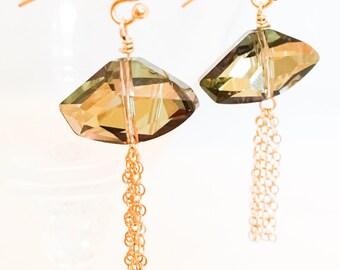 Swarovski Crystal Earrings - Brown Crystal Earrings - Brown Gold Earrings - Gold Tassel Earrings - Brown Sparkle Earrings