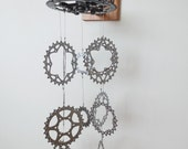 Upcycled Bicycle Crank Set and Gear Wind Chime , Reclaimed Wood , Garden Accessory , Kinetic Art