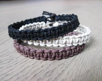 Thick Bracelet, Mens Bracelet, Hemp Bracelet, Set of 3, Bracelet Set
