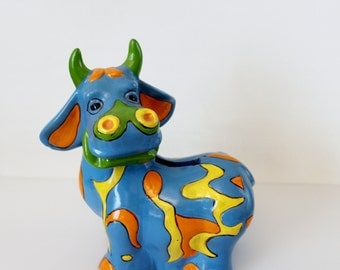 Vintage Clay Pottery Cow Figurine - Blue Cow Coin Bank - Child's Room Decor Colorful Collectible Bank