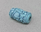 Sculpted Dreadlock Bead - Polymer Clay Dread Bead - Earthy Blue Dread Bead