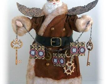 Steampunk Santa Tree Topper, Steampunk Doll, Victorian Christmas Santa