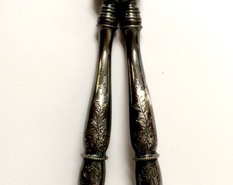 Vintage Antique Ornate Large Silver Sewing Scissors w/ Lovely Floral Pattern, Fleur de Lis