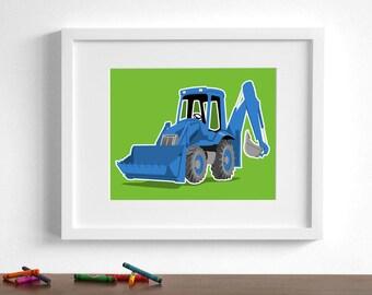 Construction boys art - Backhoe construction art - pick your colors - Tractor wall art  - boys nursery art prints
