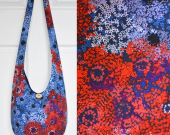 Hobo Bag Crossbody Bag Sling Bag Hippie Purse Boho Bag Bohemian Purse Slouch Purse Hippie Bag Hobo Purse Handmade Bag Stars Fabric Purse