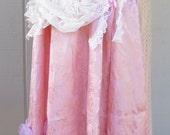 Embellished pink skirt, damask rose skirt, upcycled skirt, cosplay skirt, fantasy skirt, lady pirate skirt, romantic skirt, hippie skirt