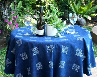 Round Table Cloth In Hmong Indigo Batik Naturally Dyed Cotton 60 inch or 90 Inch, ** Free worldwide shipping **