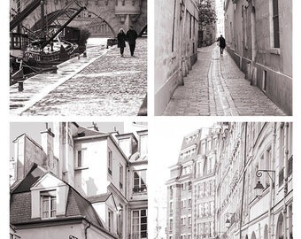 Paris Photography Set - Paris Scenes Collection, Urban Wall Decor, French Fine Art Black and White Photographs, Large Wall Art