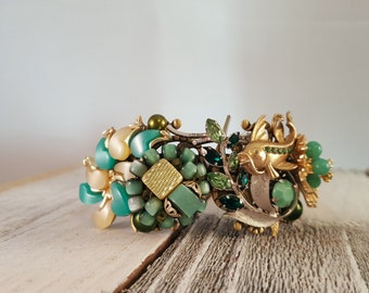 OOAK Shades of Green Catfish Mixed Media Collage Statement Cuff Bracelet