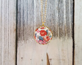 Vintage Inspired Red Flower Fabric Button Necklace