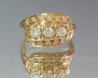 Antique 14K Yellow Gold 1ct Diamond TruBrite Ring