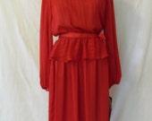 Vtg '70s Red Secretary Peplum Dress Damask Stripe Valentine's Day Disco Holiday Dress Melissa Petites New Deadstock With Tags Sz 14