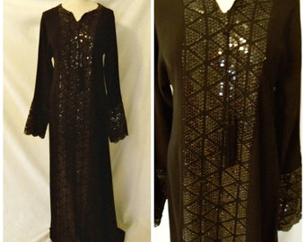 Moroccan Style Caftan Black Maxi Dress Sequin Tassel Modest Abaya Kaftan Formal Gown Size L / Large  9 10 11 12