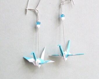 Blue and white Wild Crane Origami earrings