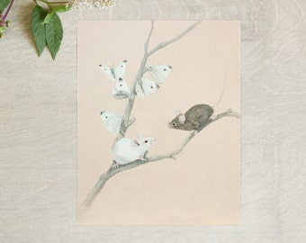 Mice and Butterfies Fine Art Print 8x10 Giclee Wall Decor