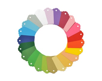 Set of gift tags in rainbow colors for packaging or scrapbooking - choose the quantity