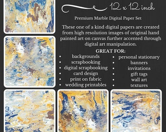 Premium Digital Paper Pack Marble Earth and Wind Yellow Blue White Brown Printable Paper Download Scrapbooking Paper Abstract Design EWEV15