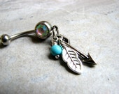 Silver Feather Belly Button Piercing Arrow Belly Rings Dangle Belly Button Jewelry Turquoise Southwest Arrow Jewelry Feather Jewelry Naval