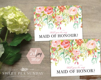 5x7 Will You Be Maid of Honour Card | PRINTABLE DOWNLOAD l Floral Vintage Design | DD006 | Be My Maid of Honor?