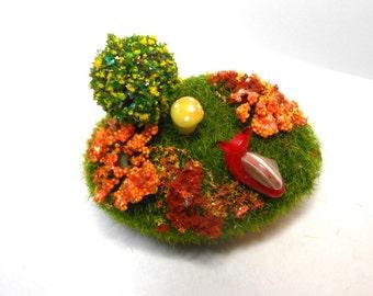 Snail on a moss rock/OOAK/Polymer clay