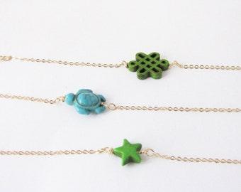 Gift for her. Minimalist stackable bracelet. Star bracelet. Turtle bracelet. Knot bracelet. Choose your bracelet.