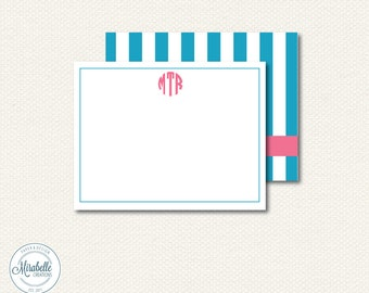 CUSTOMIZABLE SOCIAL STATIONERY - Monogrammed Note Card or Thank You Card - Mirabelle Creations