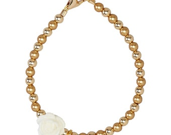 Gold Filled Beads With White Flower Bead and Gold Filled Initial Beaded Bracelet (B103)