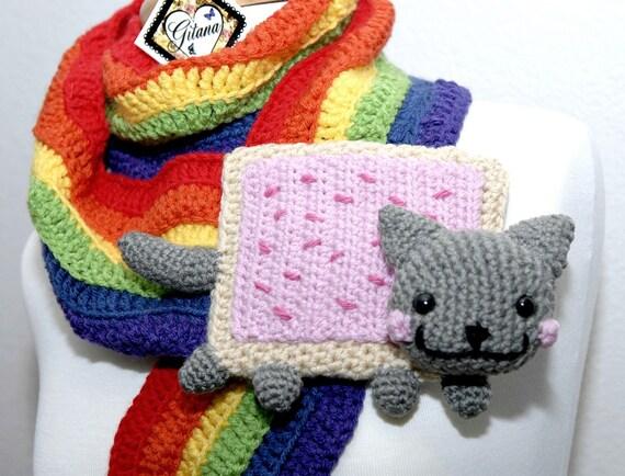 Nyan Cat Scarf- Food Scarf - Meme - Pop Tart Scarf - Amigurumi Cat - Kawaii- Rainbow Scarf - Women Scarf-Rainbow Pride-Christmas Gift-Winter