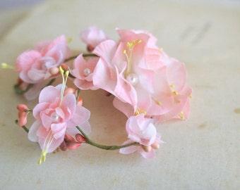 Spring Blossom Hai Clip, Pink Wedding Hairpiece, Floral Cherry Blossom Headpiece, Bridal Headpiece, Prom Accessory, Garden Wedding Hair Vine