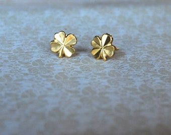 Gold Clover Earrings -- Four Leaf Clovers, St. Patrick's Day Earrings, St. Pattys Day Studs, Luck of the Irish, Gold Clover, Lucky Earrings