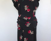 Vintage 80's does 40's Gorgeous Rose Print Dress