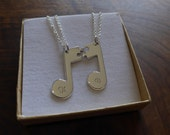 Best Friend Music Note Pendants Necklaces with Initials