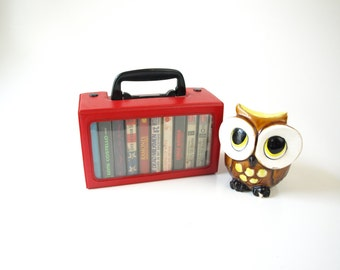 Vintage 80s red vinyl cassette tape carry case