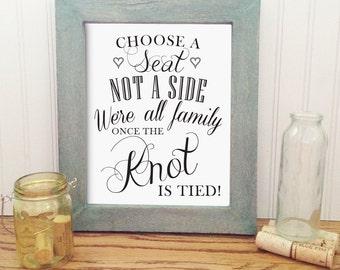 Printable wedding choose a seat sign, 8X10 elegant wedding sign, wedding decor, instant download