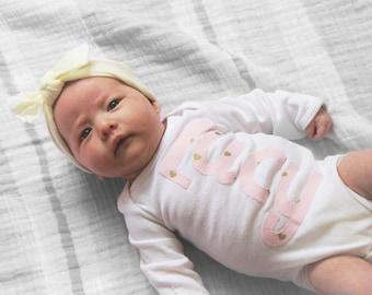 Personalized newborn onesie name custom baby shower gift photo prop