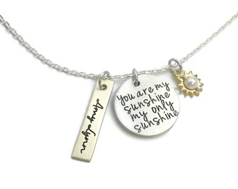 """Stamped """"You Are My Sunshine My Only Sunshine"""" Gold And Silver Necklace- Hand Stamped Jewelry - Personalized Jewelry - Engraved Jewelry"""