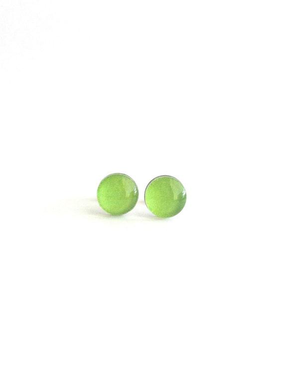 Lime Green Stud Earrings, Lime Green Earrings, Light Green Earrings, Simple Stud Earrings, Minimal Stud Earrings, Dainty Stud Earrings
