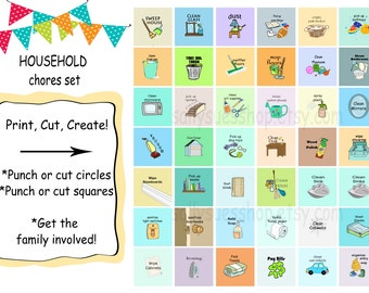 HOUSEHOLD CHORES, Printable chores/digital collage/1 inch/DIY/instant download/bottle cap prints
