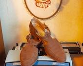 RESERVED FOR Danielle C. --- T-Strap Salvator Ferragamo Flats, Vintage Taupe Sandals. 8.5 shoes
