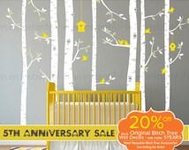 Birch Tree Wall Decals   Seven Birch Trees with Flying Birds   Baby Nursery, Children's Room Interior Designs   Easy Application 144
