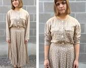 tan & white polka dot 2 piece crop top, skirt