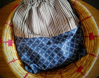 Drawstring yoga bag with nylon liner, Bathing suit bag, Carry all sack