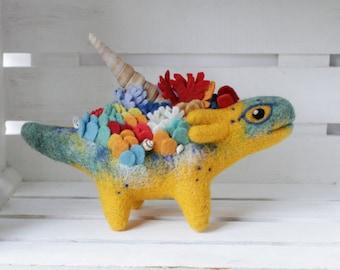 Bright coral dragon, Needle felted Dragon toy, Fantasy dragon figurine