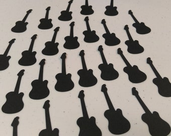 Electric Guitar Die Cuts, 64 Guitar Cutouts, 2 Inches, Invitations, Tags, Scrapbooking, Birthday Party Decorations