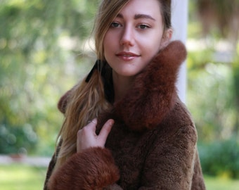 Vintage 60s brown shearling lambs fur coat / Rich chocolate russian princess hippie ethnic vintage afghan sheepskin jacket / almost famous