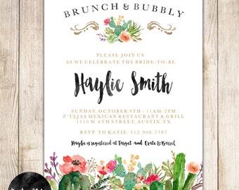 Brunch & Bubbly Bridal Shower Invitation - Succulent - Floral -Bridal Shower Brunch - Gold - Watercolor- Cactus - DIY Custom- 017