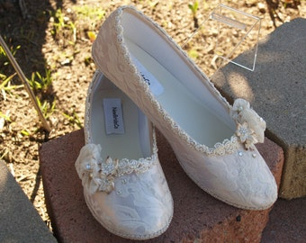 Ready to Ship Size 11 Brides Gatsby Champagne Flats, Lace Overlay,Pearls,Vintage Modern Inspired, Elegant, Romantic, Victorian, Renaissance