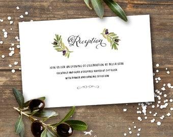 Olive Branch Wedding Reception Enclosure Card Printable