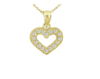 14K Gold and Diamond Heart Necklace, Small Heart, Dainty Chain and Charm, Diamond, Gold, Gift, Love, Girlfriend